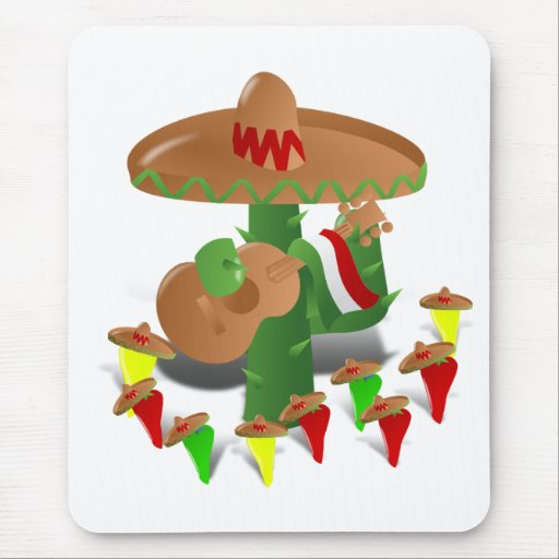 Cactus with Dancing Peppers Mouse Pad