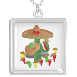 Cactus with Dancing Peppers Square Pendant Necklace
