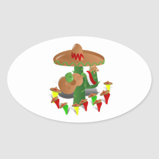 Cactus with Dancing Peppers Oval Sticker