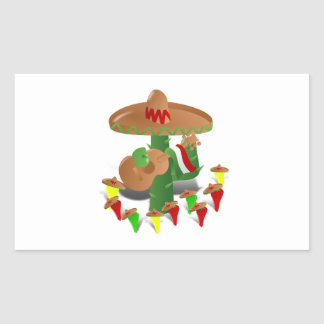 Cactus with Dancing Peppers Rectangular Sticker
