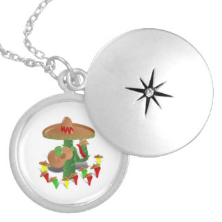 Cactus with Dancing Peppers Round Locket Necklace