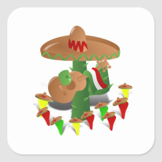 Cactus with Dancing Peppers Square Sticker