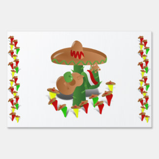 Cactus with Dancing Peppers Yard Sign
