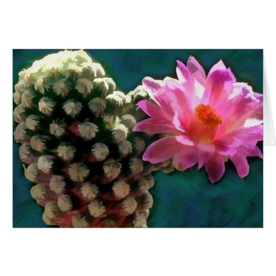 Cactus with Pink Sunlit Bloom Card