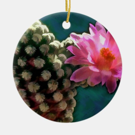Cactus with Pink Sunlit Bloom Christmas Ornaments