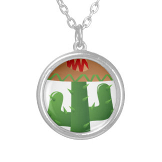 Cactus With Sombrero Silver Plated Necklace