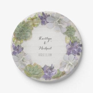 Cactus Wreath Leaf Succulent Wooden Bridal Shower Paper Plate