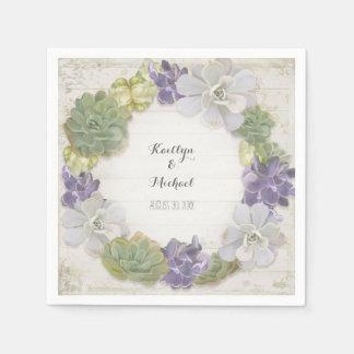 Cactus Wreath Leaf Succulent Wooden Paper Party Paper Napkin