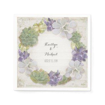 luxuryweddings Cactus Wreath Leaf Succulent Wooden Paper Party Paper Napkin