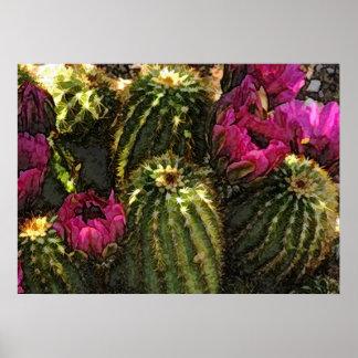 Cactus y flores rosadas en pasteles ásperos poster