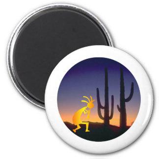 Cactus y Kokopelli redondos Iman