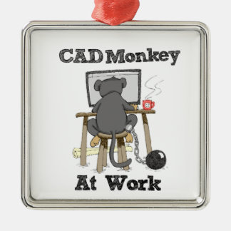 CAD Monkey At Work Metal Ornament