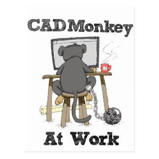 CAD Monkey At Work.png Postcard