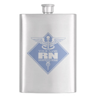 Cad RN (diamond) personalized Flask