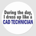 Cad Technician During The Day Round Sticker