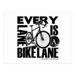 Cada carril un carril de la bici postales
