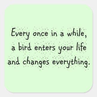 Cada de vez en cuando, un pájaro incorpora su pegatina cuadrada