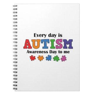 Cada día es día de la conciencia del autismo a mí libros de apuntes con espiral