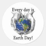 Cada día es Día de la Tierra Etiqueta Redonda