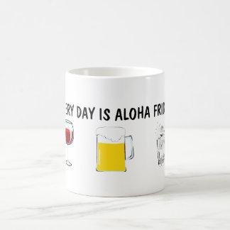 Cada día es hawaiana viernes taza básica blanca