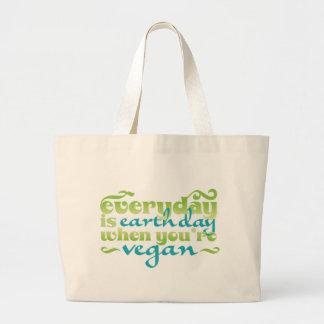 Cada día es vegano del Día de la Tierra Bolsa Tela Grande