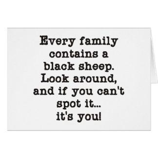 Cada familia tiene ovejas negras tarjeta de felicitación