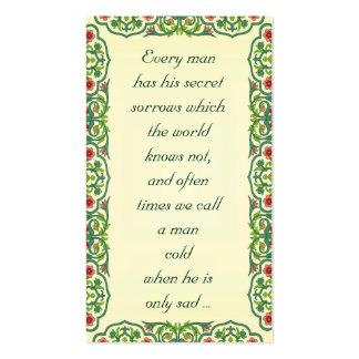 Cada hombre tiene sus dolores secretos que plantillas de tarjetas personales