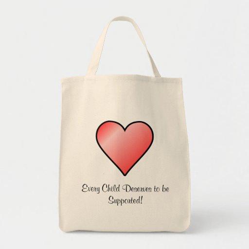 Cada niño merece ser tote apoyado bolsa de mano