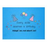 Cada niño merece un cumpleaños. Adopción, Postales