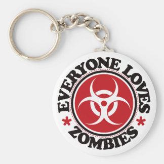 Cada uno ama a los zombis - rojo llavero redondo tipo pin