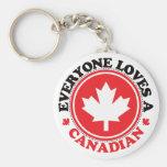 ¡Cada uno ama a un canadiense! Llavero Redondo Tipo Pin