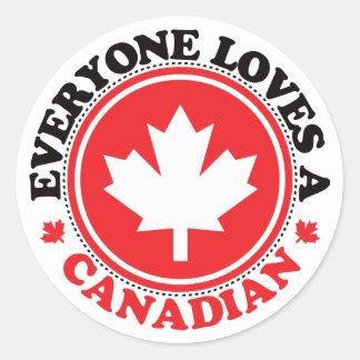 ¡Cada uno ama a un canadiense! Etiquetas Redondas