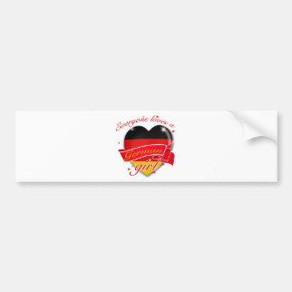 Cada uno ama a un chica alemán pegatina de parachoque