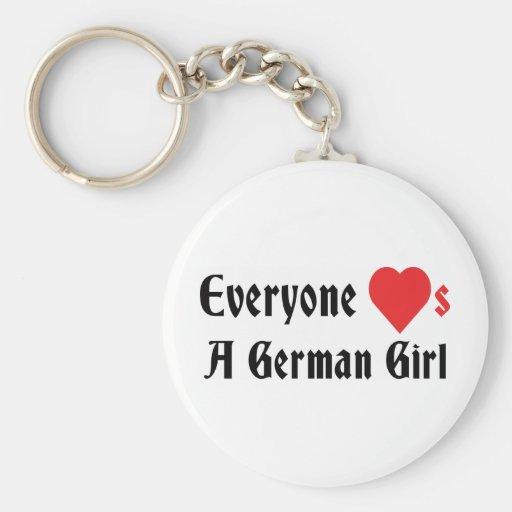 Cada uno ama a un chica alemán llaveros personalizados
