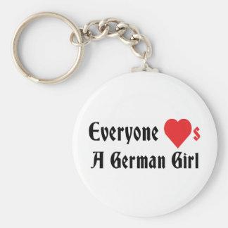 Cada uno ama a un chica alemán llavero redondo tipo pin