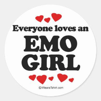 Cada uno ama a un chica de Emo Pegatina Redonda