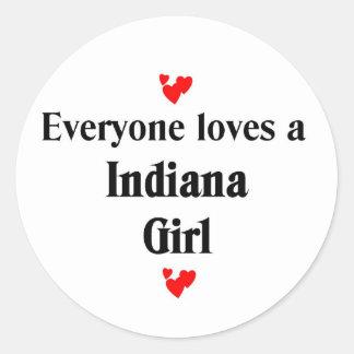 Cada uno ama a un chica de Indiana Pegatina Redonda