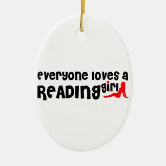 Cada uno ama a un chica de la lectura adorno ovalado de cerámica