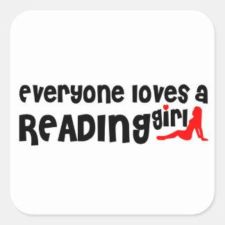Cada uno ama a un chica de la lectura pegatina cuadrada
