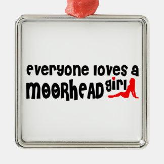 Cada uno ama a un chica de Moorhead Adorno Cuadrado Plateado