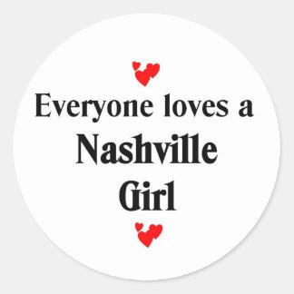 Cada uno ama a un chica de Nashville Pegatina Redonda