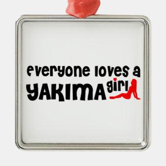 Cada uno ama a un chica de Yakima Adorno Cuadrado Plateado