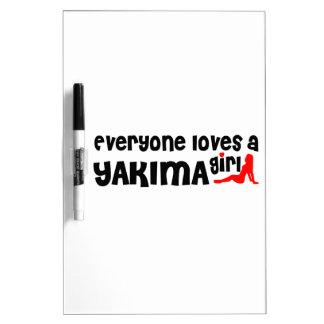 Cada uno ama a un chica de Yakima Pizarra