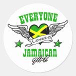 Cada uno ama a un chica jamaicano etiquetas redondas