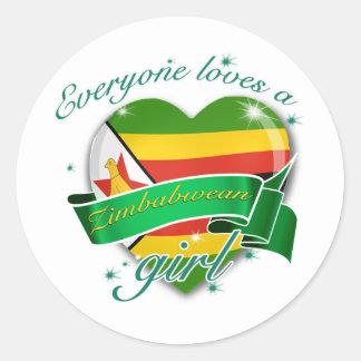 Cada uno ama a un chica zimbabuense pegatina redonda