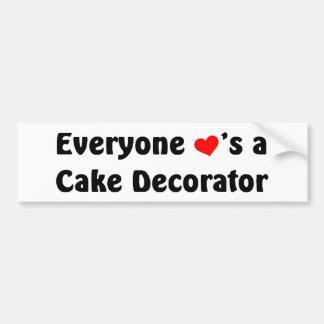 Cada uno ama a un decorador de la torta pegatina para auto