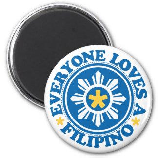 Cada uno ama a un filipino - azul imán redondo 5 cm