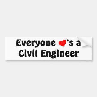 Cada uno ama a un ingeniero civil pegatina para auto