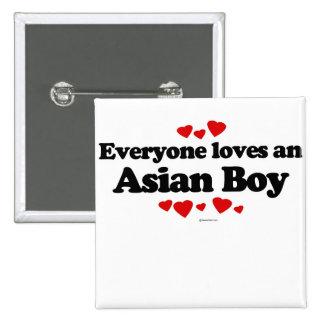 Cada uno ama a un muchacho asiático pin cuadrado