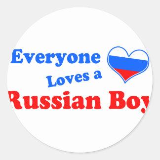 ¡Cada uno ama a un muchacho ruso! Pegatina Redonda